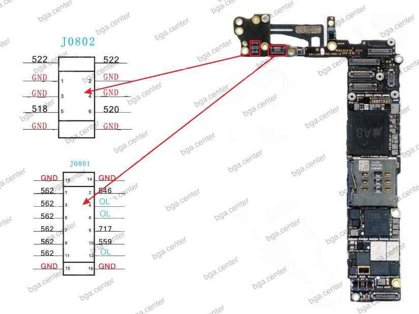 Падение напряжения на разъемах J0801 и J0802 iPhone 6