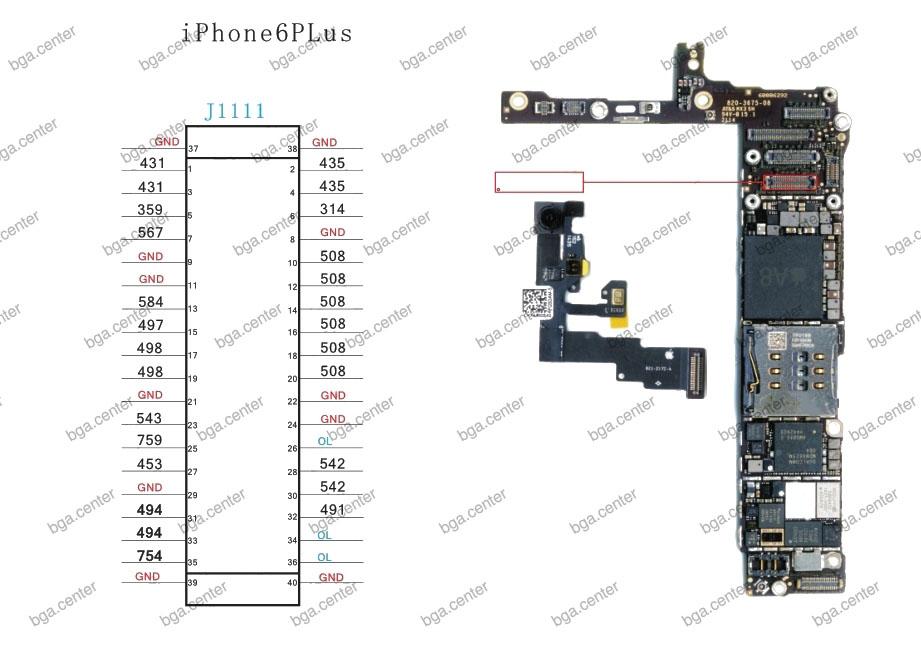 Падение напряжения на разъеме J1111 iPhone 6 Plus.