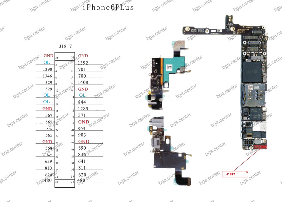 Падение напряжения на разъеме J1817 iPhone 6 Plus.
