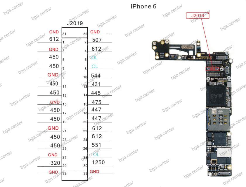 Падение напряжения на разъеме J2019 iPhone 6