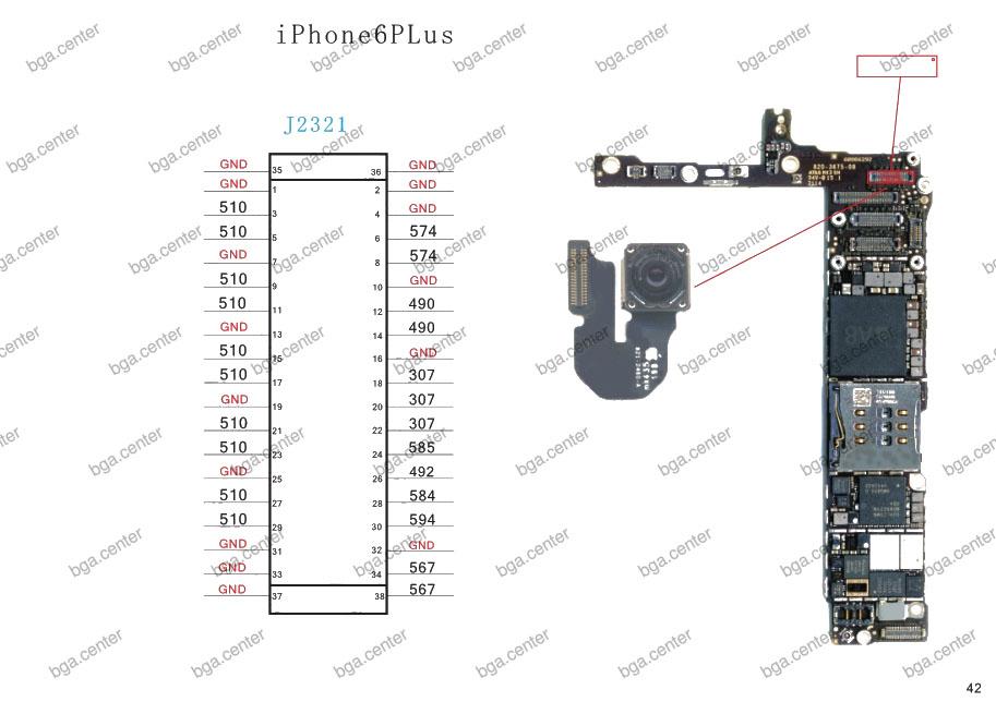 Падение напряжения на разъеме J2321 iPhone 6 Plus.