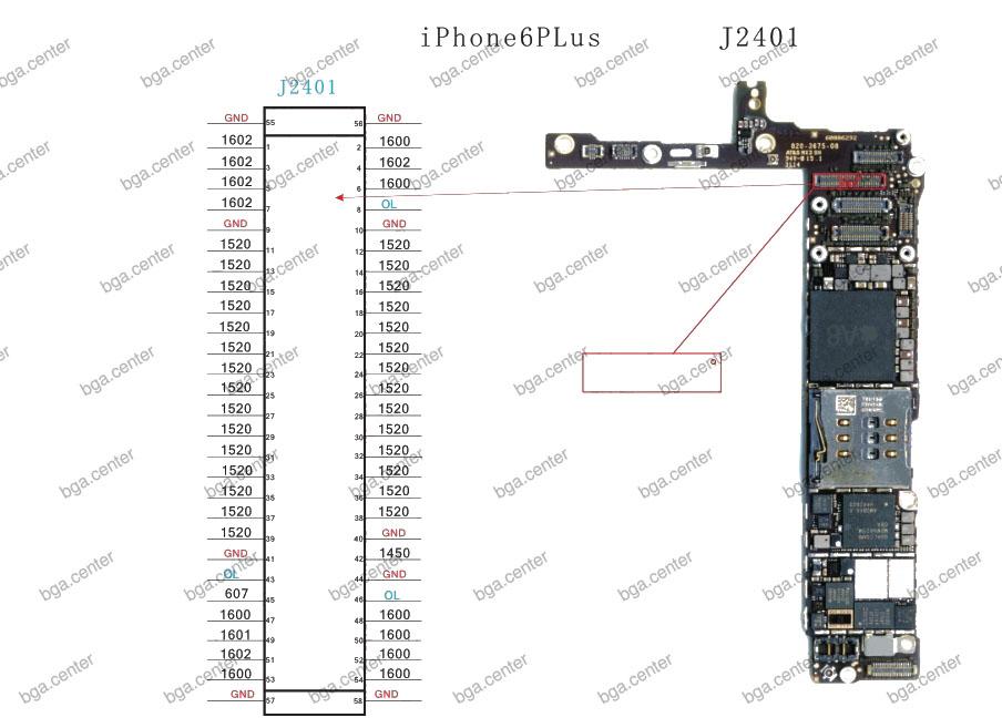 Падение напряжения на разъеме J2401 iPhone 6 Plus.