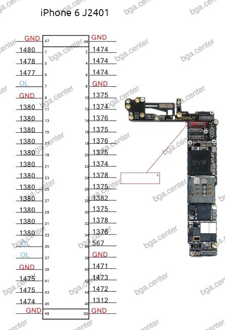 Падение напряжения на разъеме J2401 iPhone 6