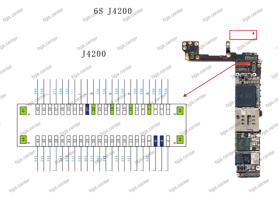 Падение на разъеме J4200 iPhone 6S.