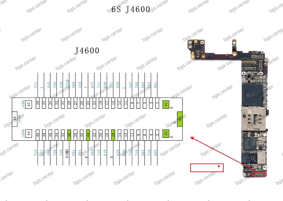 Падение напряжения на разъеме J4600 iPhone 6S.