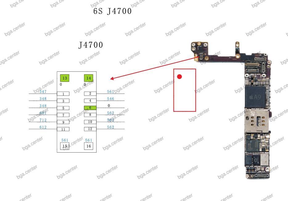 Падение напряжения на разъеме J4700 iPhone 6S.